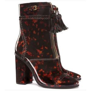 Tory Burch Tortoise Shell Huxley Leather Booties